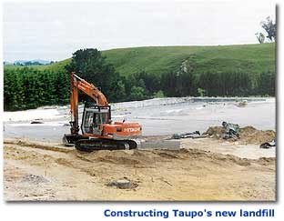 Photograph showing construction of Taupo's new landfill.